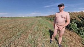On a field trip: Leaving my clothes behind and walking in the sun, stroking my cock in the open
