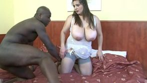 Big boobed white BBW gets her ass strecther rough by BBC