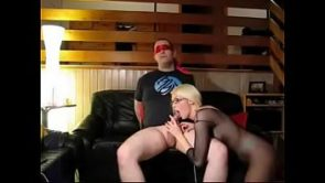 Hot blonde in stockings sucks and rides her tied up bf