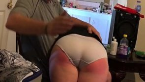 Waiting in the corner for her spanking