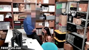 Teen thief Emily Willis pleasing a big cocked cop