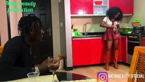 Naija beauty fucks her brothers friend in the kitchen