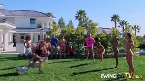 Stunning swinger babes are naked outdoors playing softcore sex games!