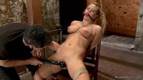Busty bound blonde banged with dildo