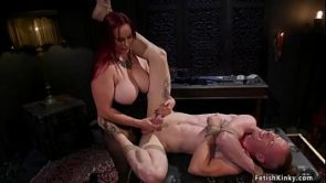 Monster tits redhead pegging man