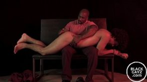 Young black twink spanked hard and plowed with a dildo