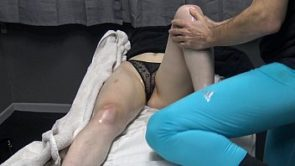 Famous Fitness Model Seduce her Masseur as Wearing Transparent Panties at the Massage Bed ! She is exhibitionist ? Look her shaved  pussy Lips !