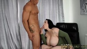 Big breasted Harmony Reigns sucks cock and takes pounding
