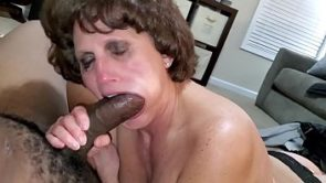 Denise sucks monster black cock