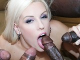 Horny blonde interracial anal gandbang then swallows cum like a slut